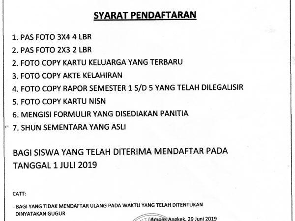 Syarat Pendafaran Ulang PPDB Jalur Prestasi TP. 2019/2020