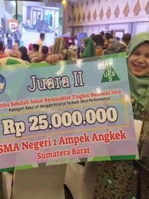 SMAN 1 Ampek Angkek Meraih Juara II Lomba Sekolah Sehat Kategori Karakter Baik (Best Performance) Tingkat Nasional Tahun 2019