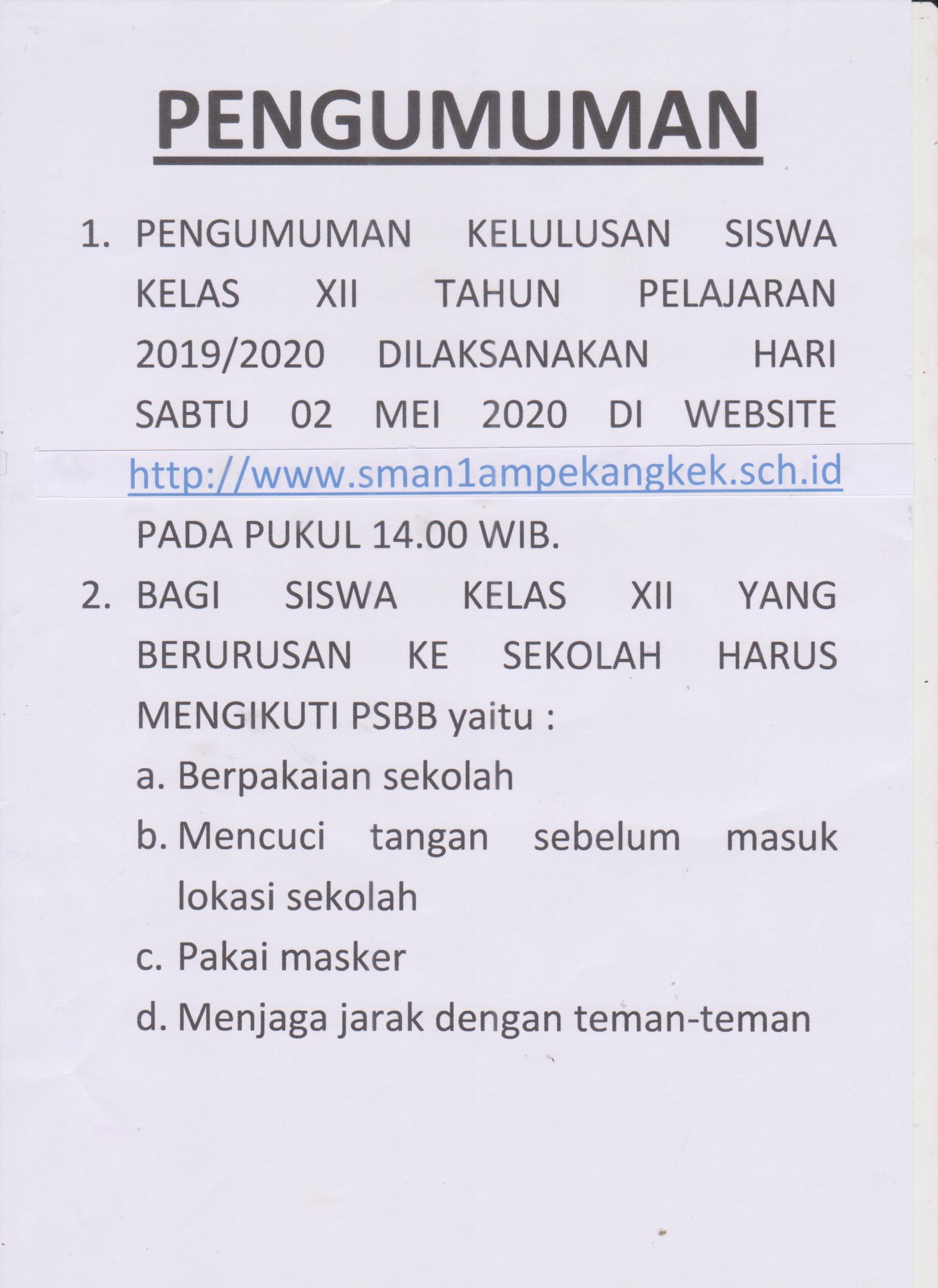 Pengumuman kelulusan kelas XII TP. 2019-2020