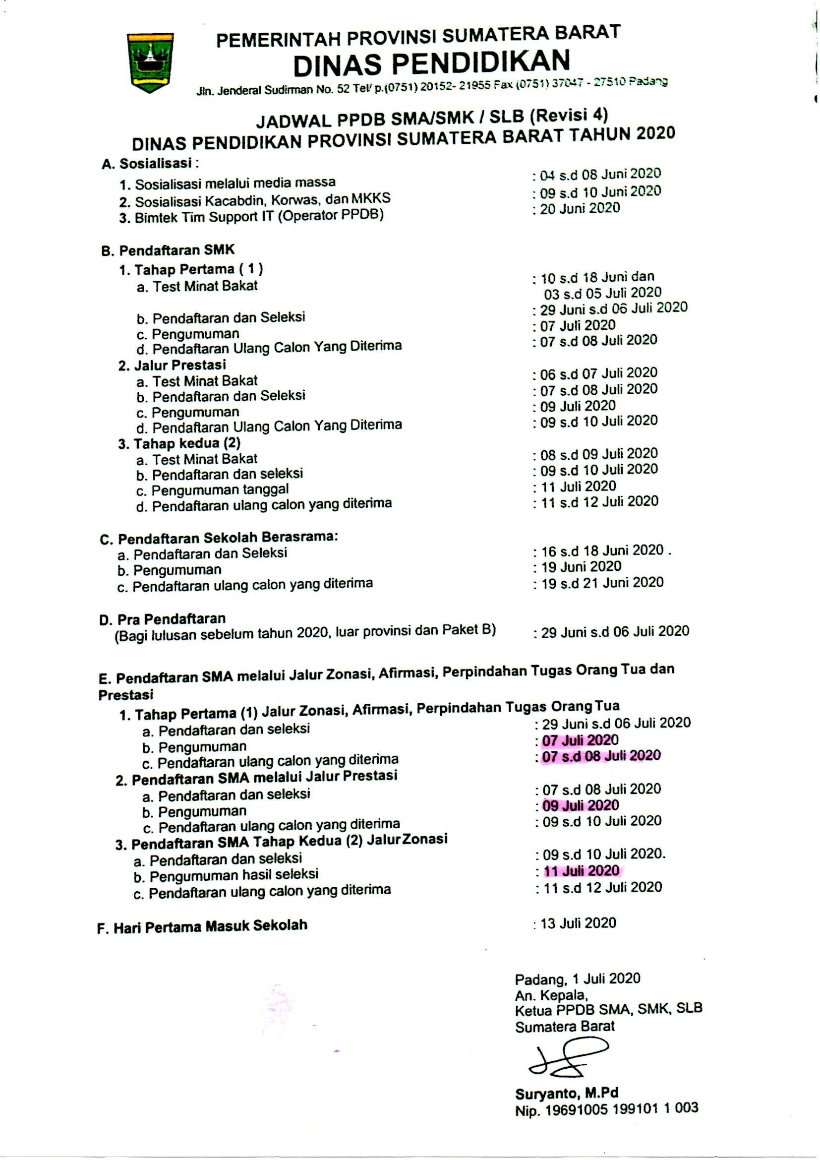 Pengumuman PPDB 2020/2021 sesuai dengan revisi Dinas Pendidikan Propinsi Sumatera Barat