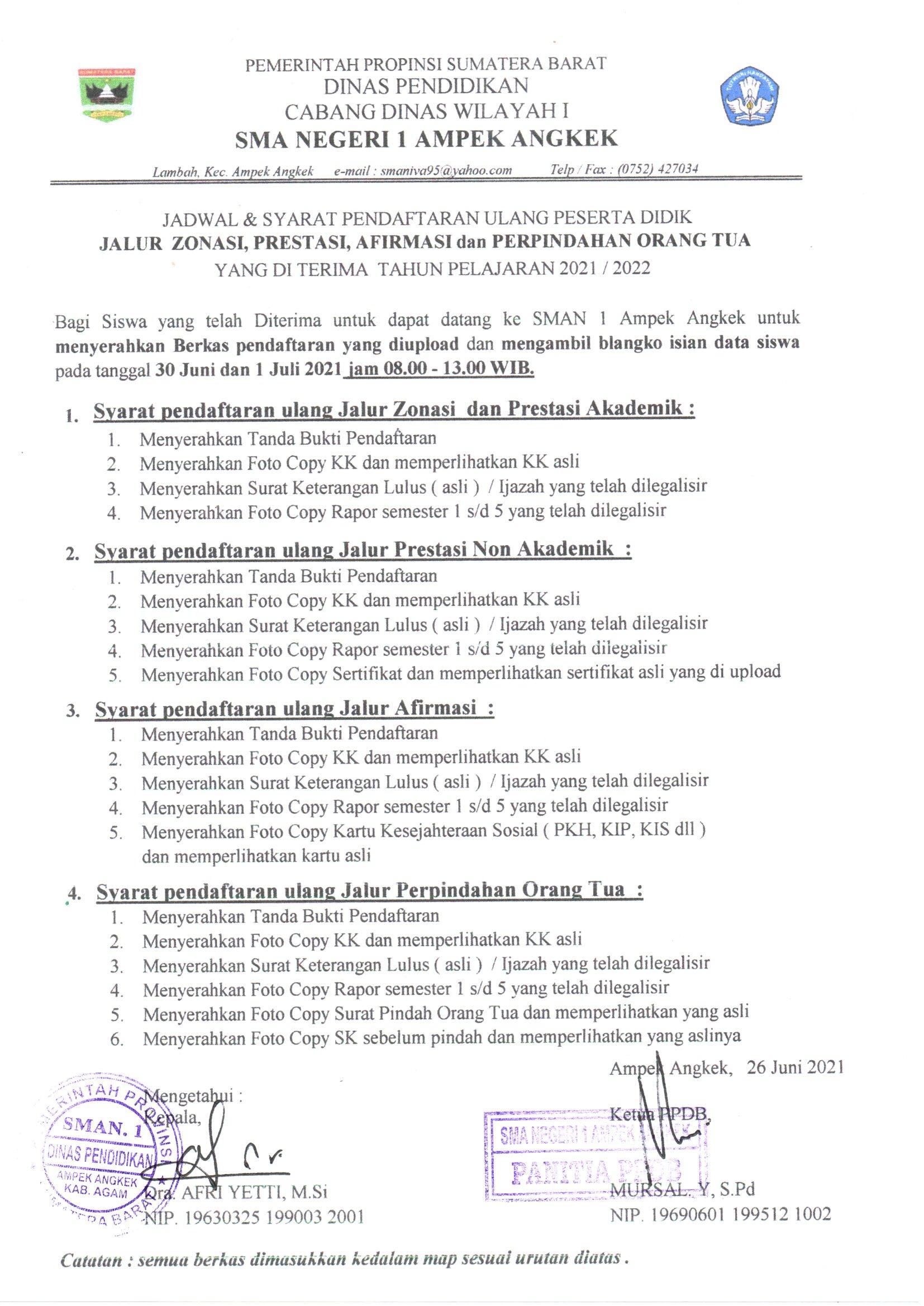Jadwal dan Persyaratan Pendaftaran Ulang Jalur Zonasi, Prestasi Afirmasi dan Perpindahan Orang Tua yang diterima TP. 2021/2022