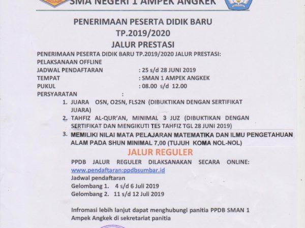 Informasi Pendaftaran PPDB SMAN 1 Ampek Angkek  TP. 2019/2020